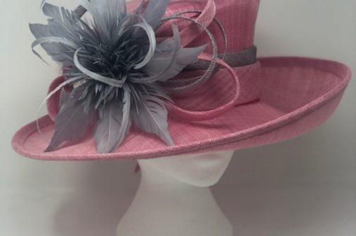 Pink grey hat