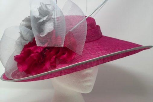 fushia grey hat