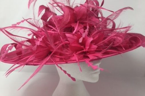 large fussy pink hat