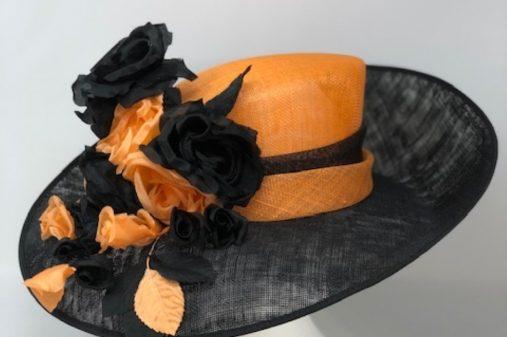 orange and black hat