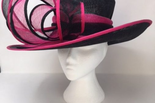 pink and black ascot hat