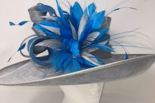 silver and blue wedding hat